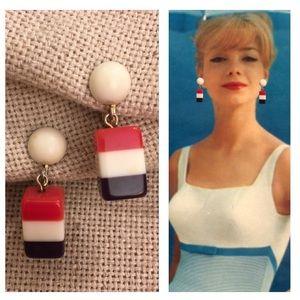 VTG Red White Blue Acrylic Clip Earrings Nautical